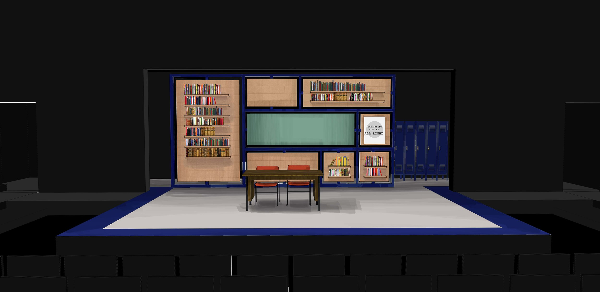 Theatre rendering for 'The Dream of the Burning Boy' by David West Read - the library