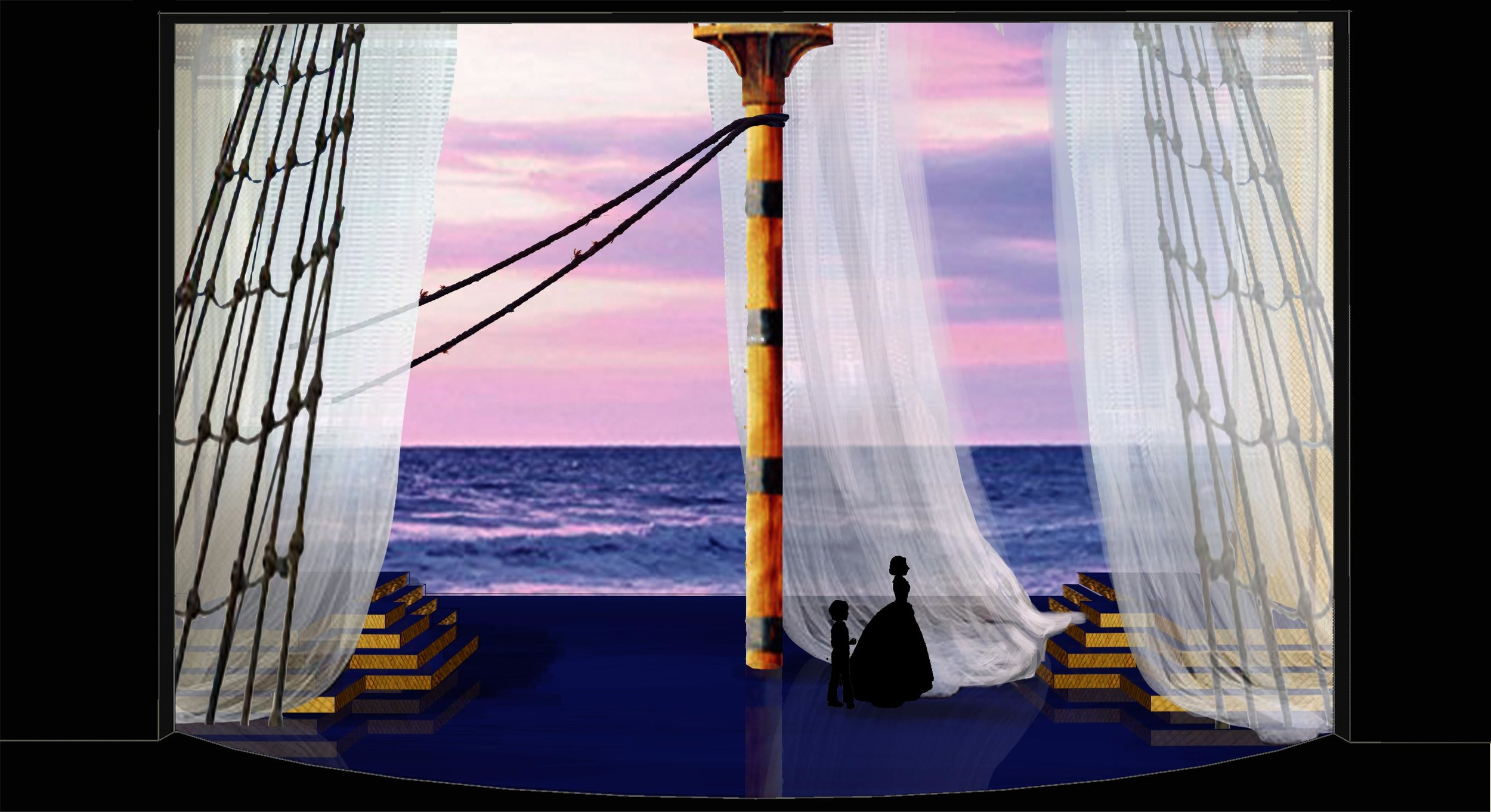Theatre rendering for 'The King and I' by Oscar Hammerstein II - Ship deck