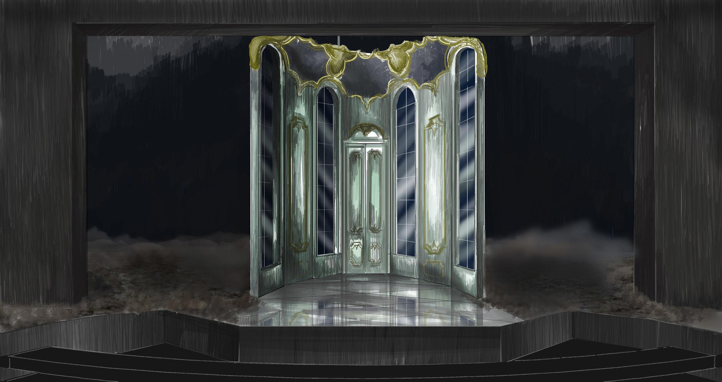 Theatre rendering for 'Les Liaisons Dangereuses' by Christopher Hampton (unrealized paper project)