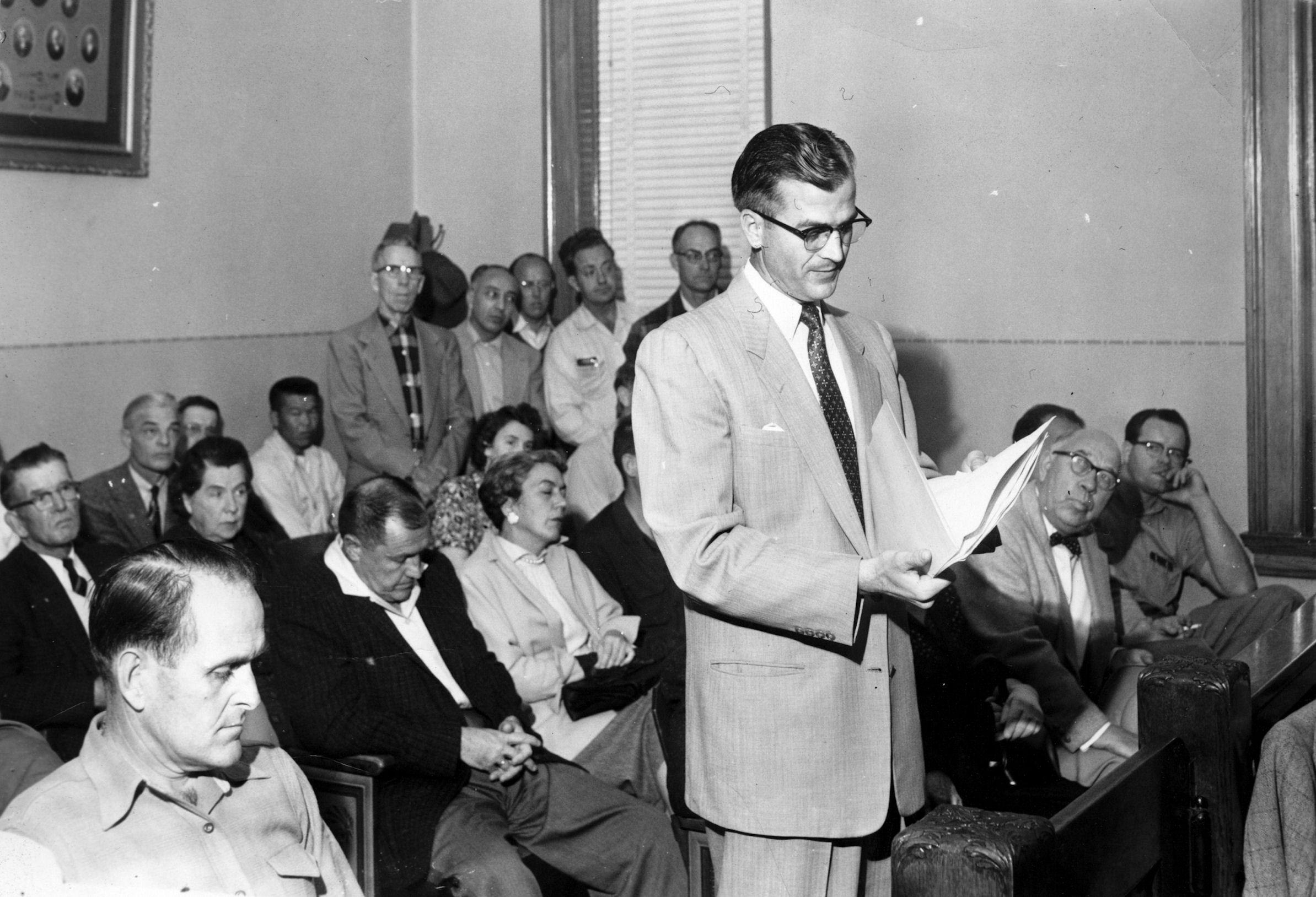 Garden Grove incorporation hearing, ca 1955.
