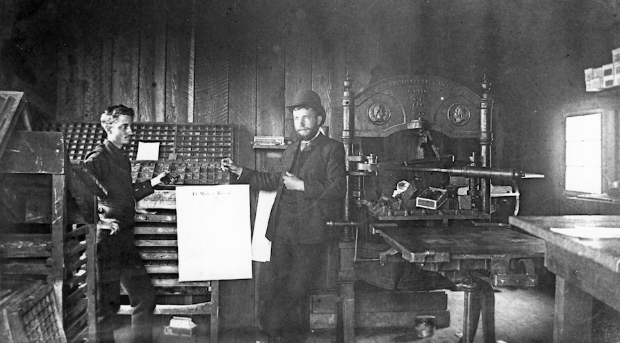 The office of the  El Modena Record , 1888; On the right is editor I.G. Towns (courtesy the Santa Ana Public Library).
