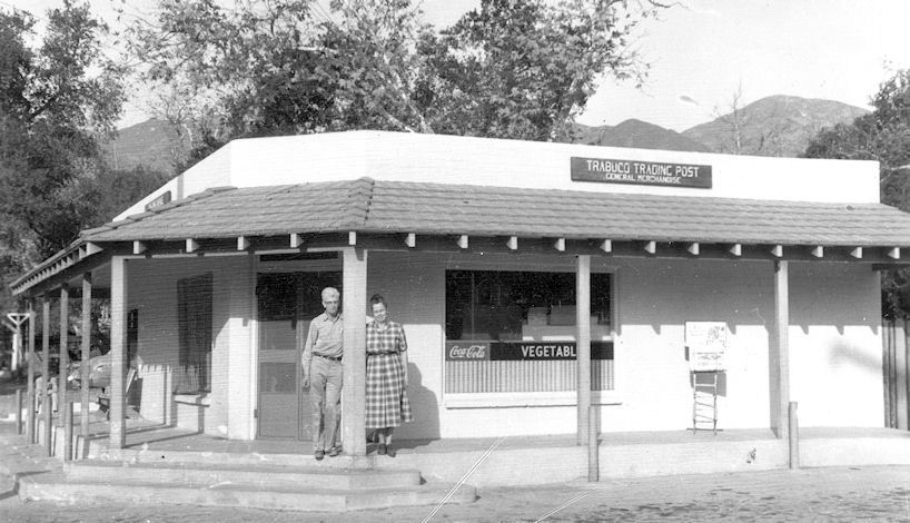 Walter and Esther Mills outside their Trabuco Trading Post, circa 1955 (courtesy the Orange County Archives).