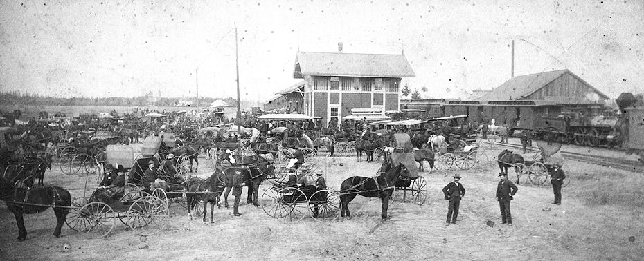 A busy day at Santa Ana's original Southern Pacific depot, ca 1888 (courtesy Gladys Reeves).