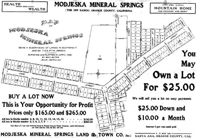 Part of an advertising flier for Modjeska Mineral Springs in Williams Canyon, circa 1909.