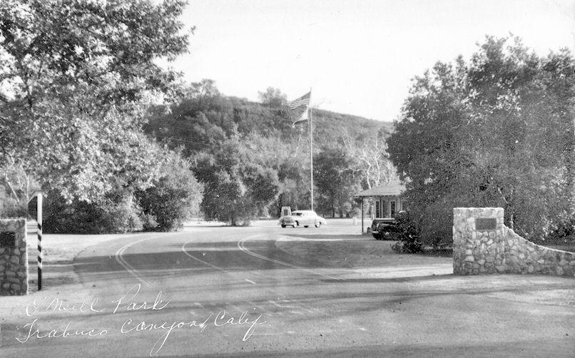The original entrance to O'Neill Park, circa 1955 (courtesy the Orange County Archives).