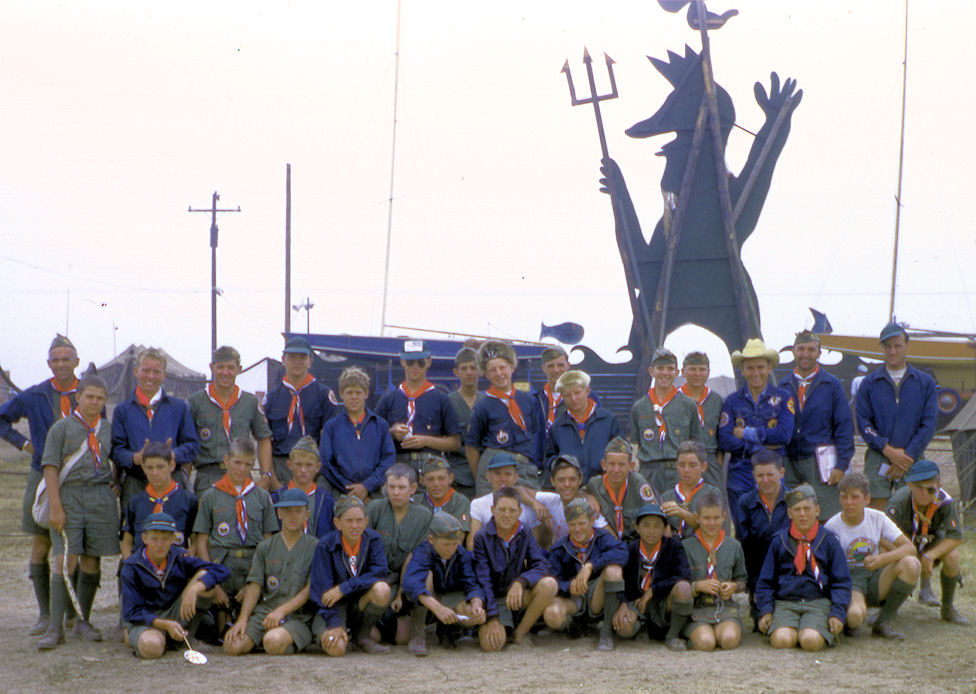 Jamboree Troop1 was one of four troops sent by the Orange Empire Area Council. My father, Michael Brigandi, is kneeling in the second row back, seventh from the left (courtesy the Orange County Archives).