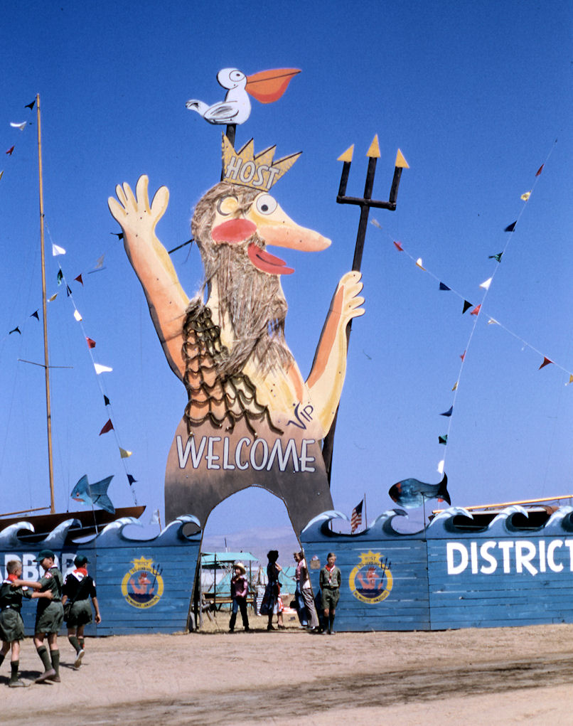 Jamboree troops always go all out on the entrance gateways to their campsites. Orange County's Troop 2 included many Scouts from the Newport Harbor area, so their gateway featured King Neptune, as drawn by Orange County cartoonist Virgil Partch (courtesy the Orange County Archives).