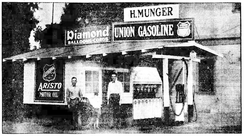 Horace Munger's service station next to the Irvine General Store ( Santa Ana Register , 1-28-1929)
