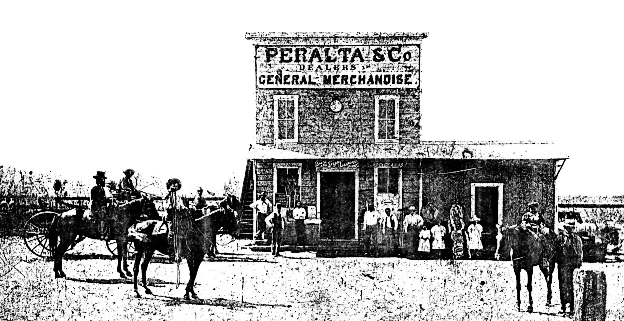 Estevan Peralta's store and post office at Yorba, circa 1898. The building was located on the north side of what is now Orangethorpe Avenue, near Van Buren.