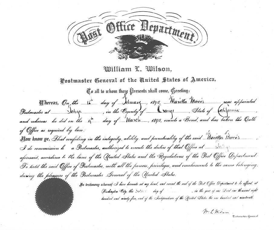 Murietta Morris' official appointment as postmaster of Talega, 1895.