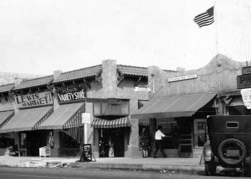 The Costa Mesa Post Office, circa 1930 (courtesy the Orange County Archives).