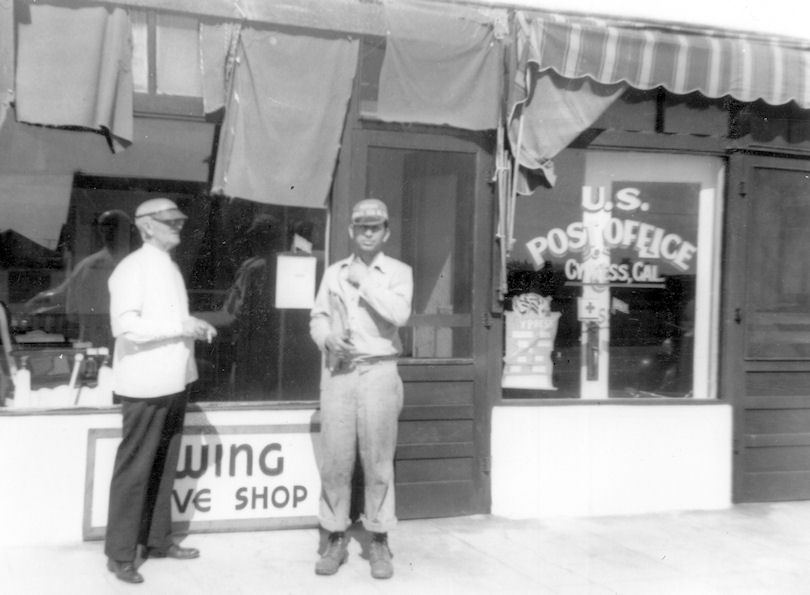 Outside the Cypress Post Office, 1941 (courtesy the Orange County Archives).
