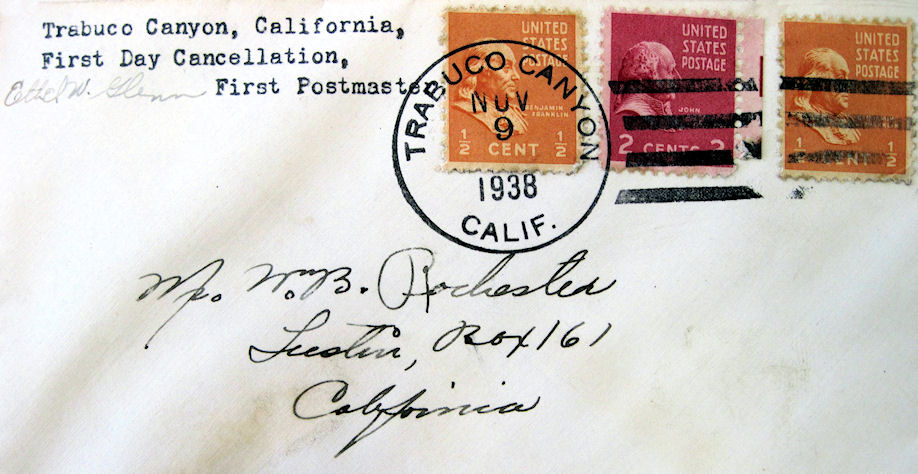 """A """"first day cover"""" for the Trabuco Canyon Post Office, signed by postmaster Ethel Glenn (courtesy UC Irvine Special Collections)."""