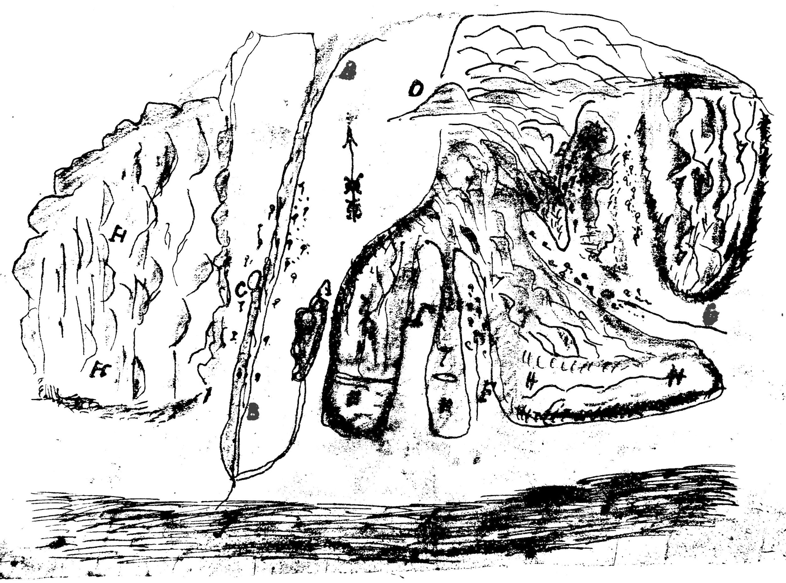 """The  diseño  for the Rancho Boca de la Playa, circa 1846. The main watercourse (B) through the center is San Juan Creek as it drains to the sea. C is a spring ( aguaje ) To the right are the Cañada de los Desechas (F) and the Cañada de los Pulgas (G) – not the """"Canyon of the Fleas"""" further down the coast, but presumably Segunda Desecha Canyon in San Clemente (courtesy the California State Archives)."""
