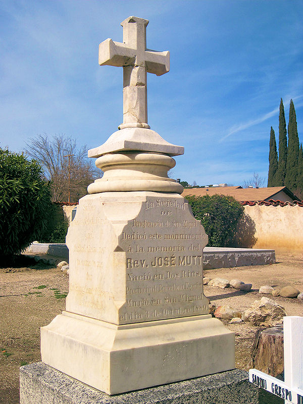 Fr. Mut's tombstone in the cemetery at Mission San Miguel.