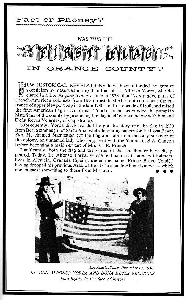 Jim Sleeper's take on the flag story from his second  Orange County Almanac of Historical Oddities  (1974).