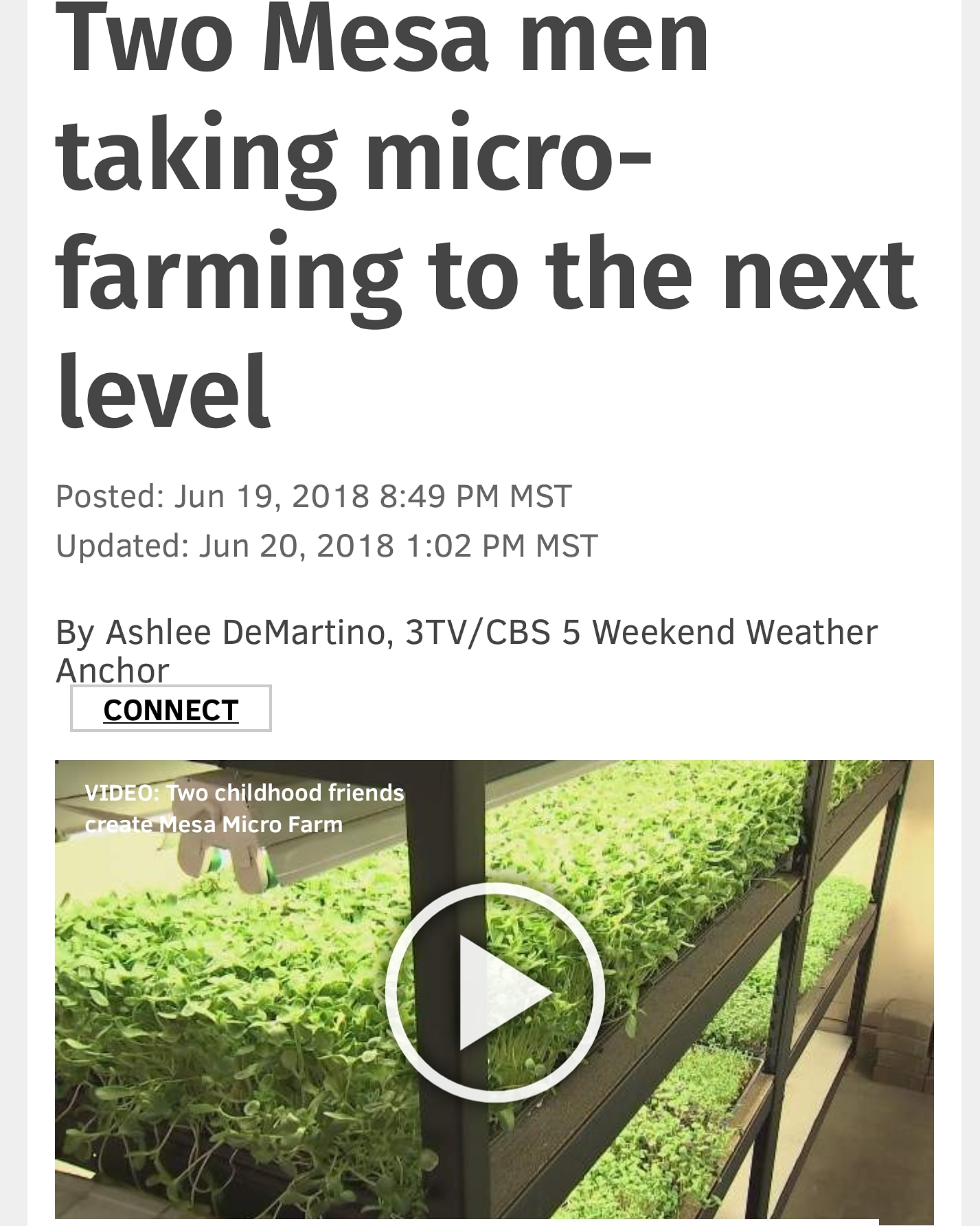 AZFamily Feature Story - 6/19/18 - Ashlee DeMartino with 3TV/CBS5 was invited into our garden for an inside look at what we do. Our truly