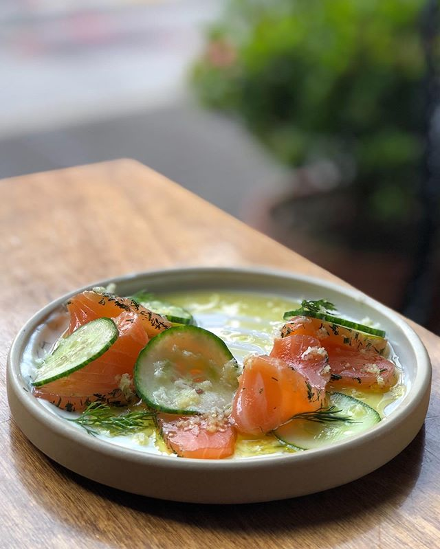 We see you tonight! Cured salmon, cucumber, crème fraîche, horseradish. #troquetnyc