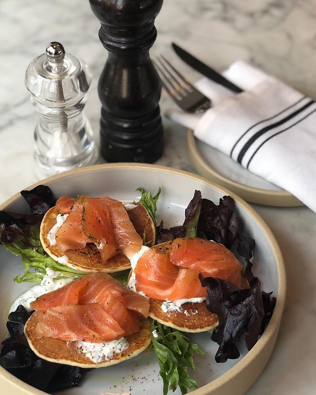 Brunch delight, salmon gravlax and homemade blinis w/ dill sauce @troquetnyc
