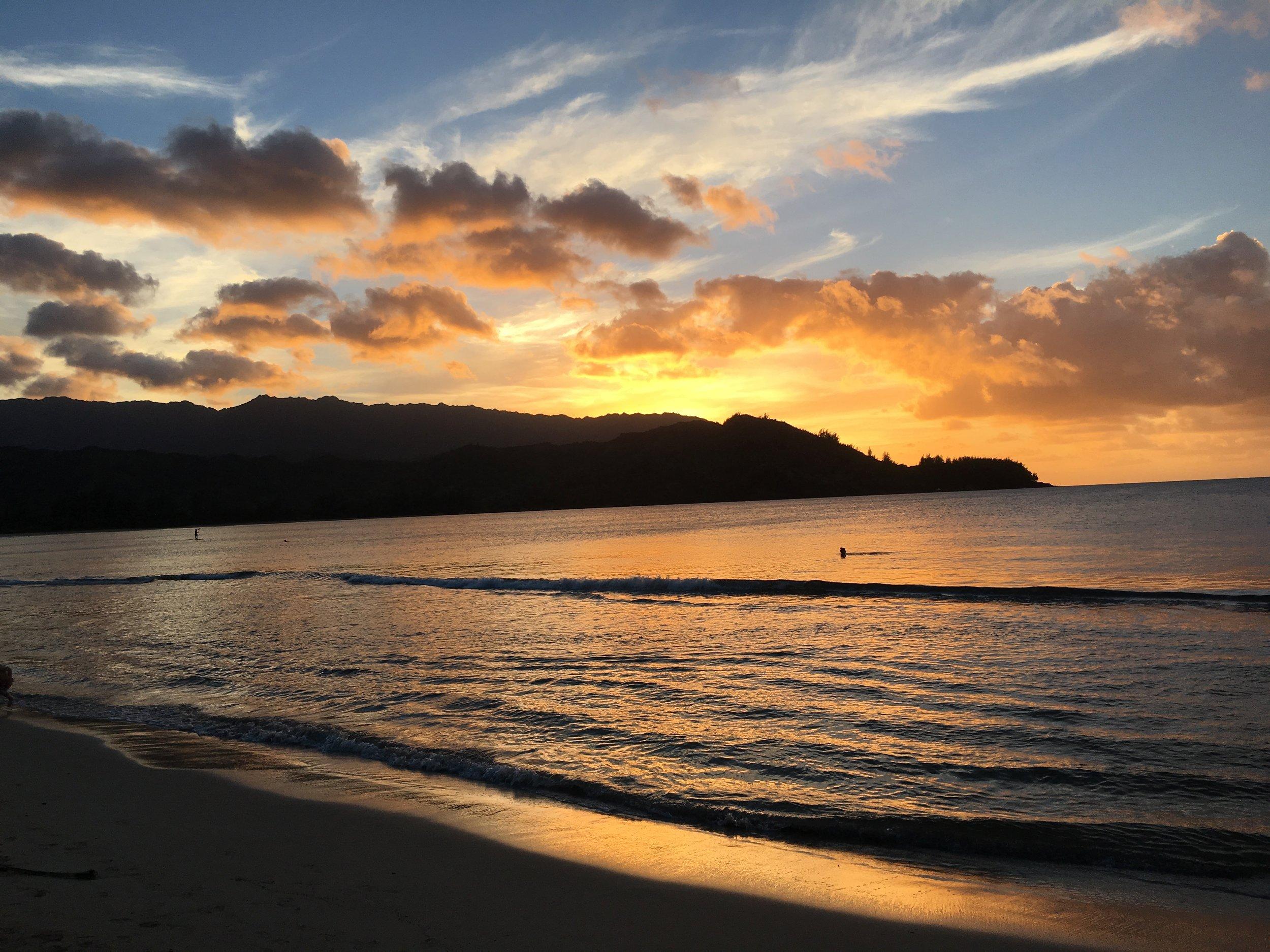 Hanalei Bay at Sunset