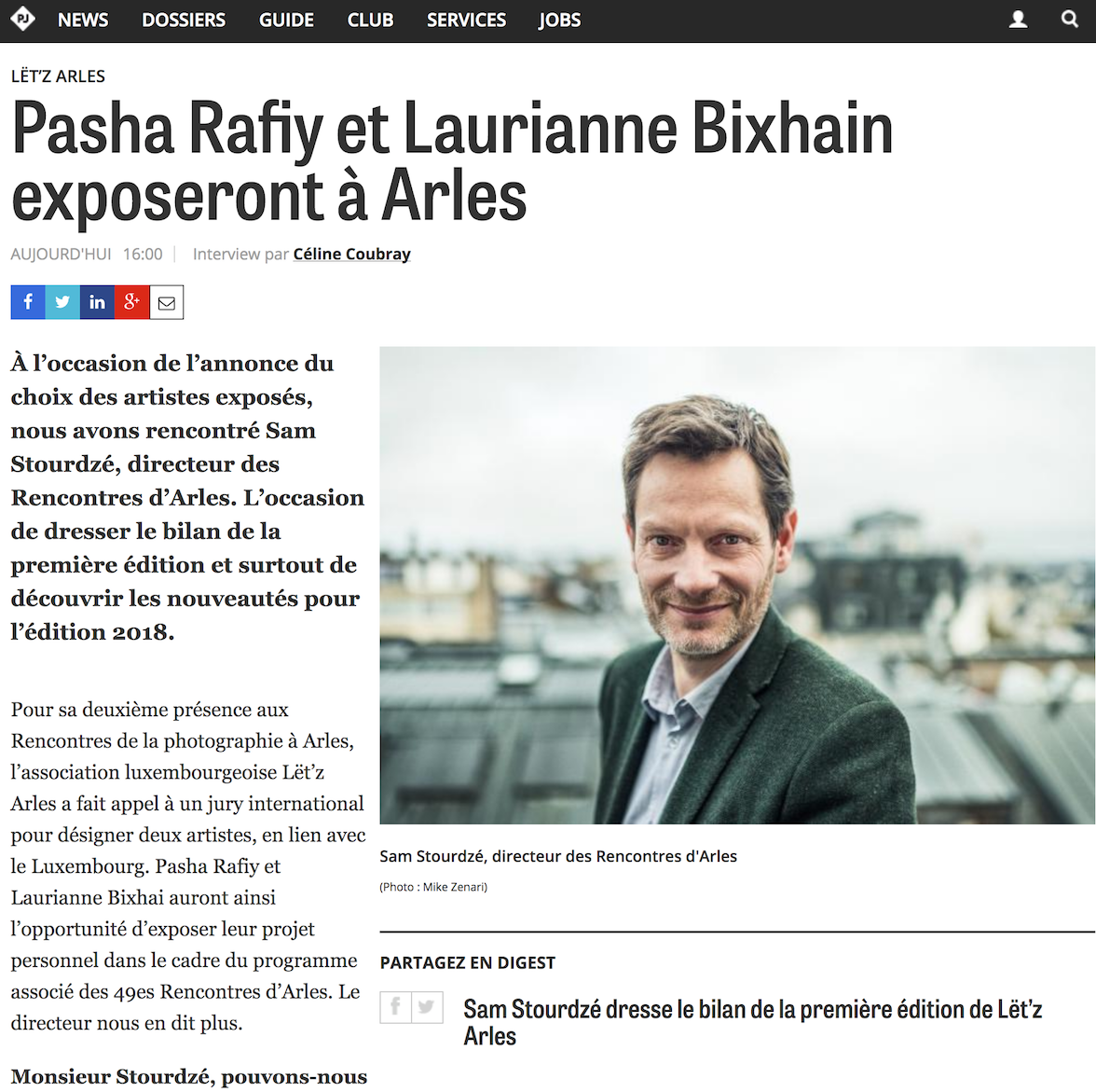 Paperjam - 14 février 2018Pasha Rafiy et Laurianne Bixhain exposeront à Arles
