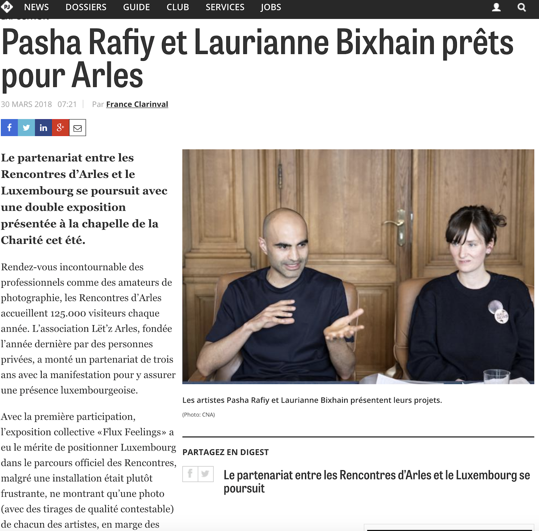 Paperjam - 30 mars 2018Pasha Rafiy et Laurianne Bixhain prêts pour Arles