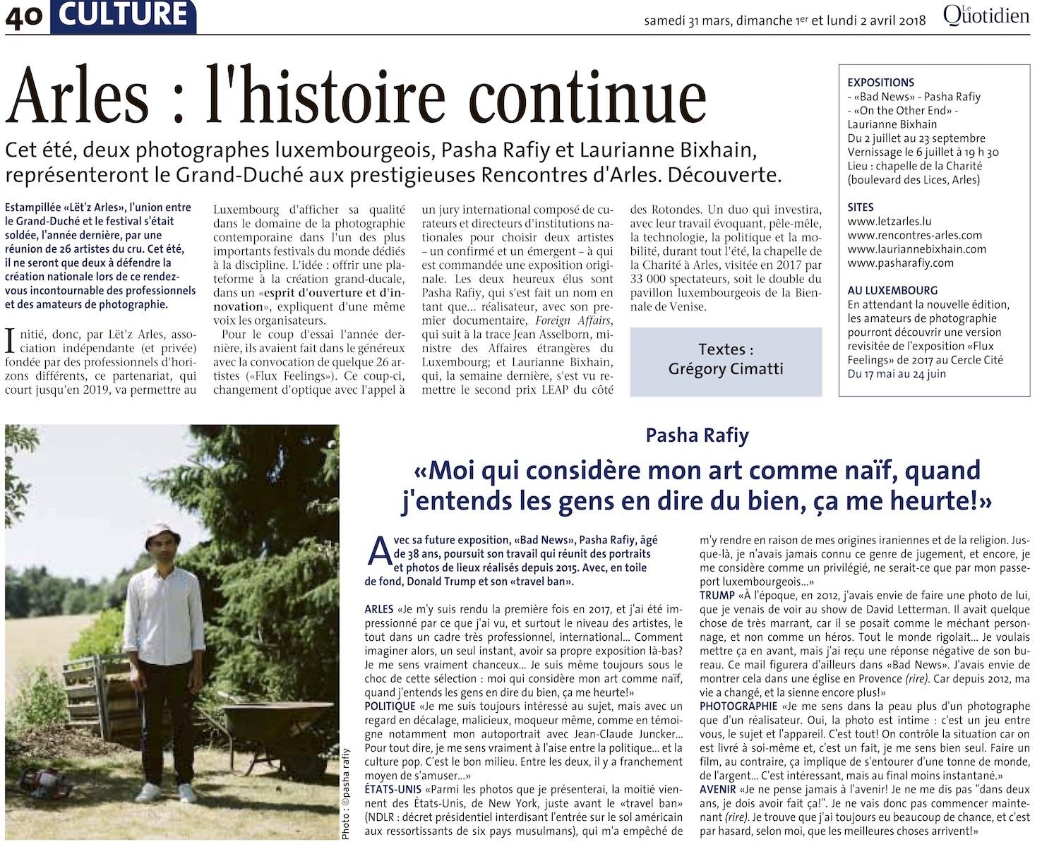 Le Quotidien - 31 mars 2018Arles: l'histoire continu
