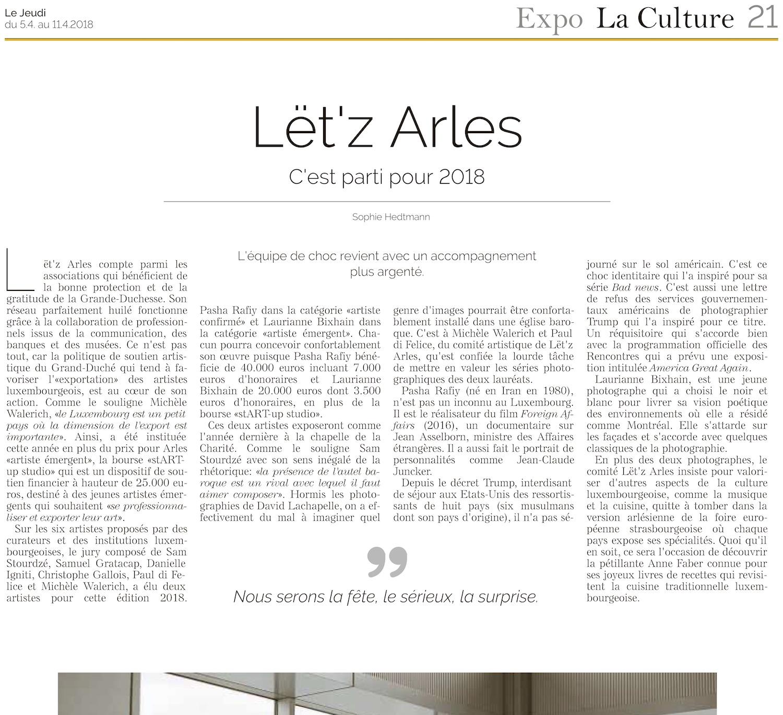 Le Jeudi - 5 avril 2018Lët'z Arles / C'est parti pour 2018