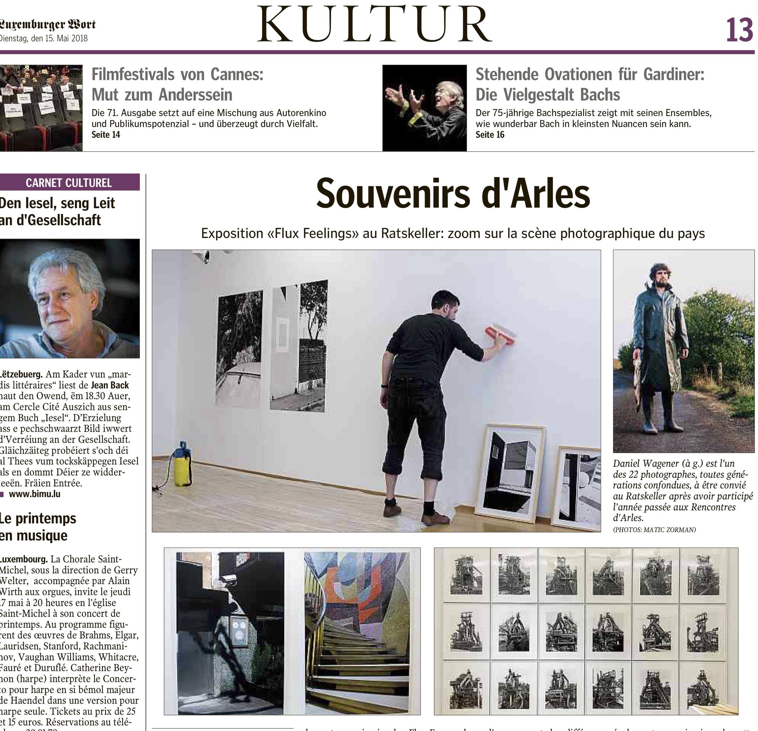 Luxembourger Wort - 15 mai 2018 / Souvenirs d'Arles