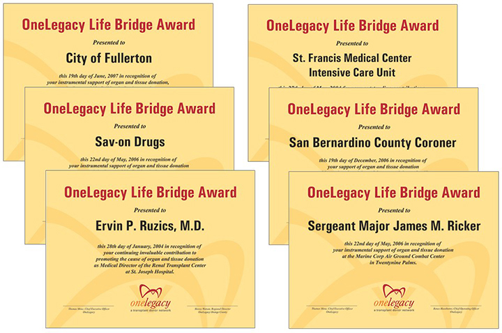 OneLegacy recognized a wide range of community partners, including physicians, coroners, hospitals and hospital units. cities, companies, first responders and the military.