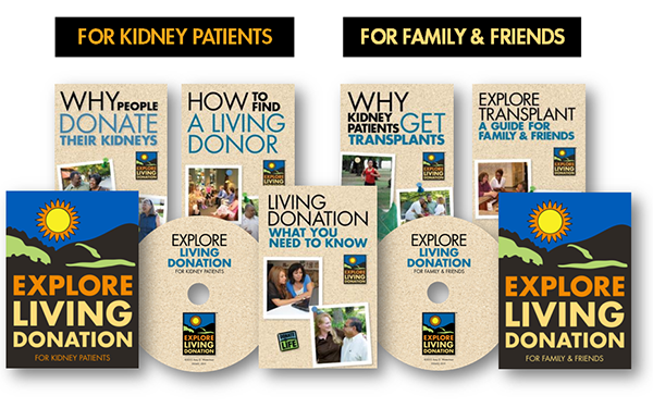 Explore Living Donation packets containing customized folders, brochures, information sheets and a DVD, were prepared in both English...