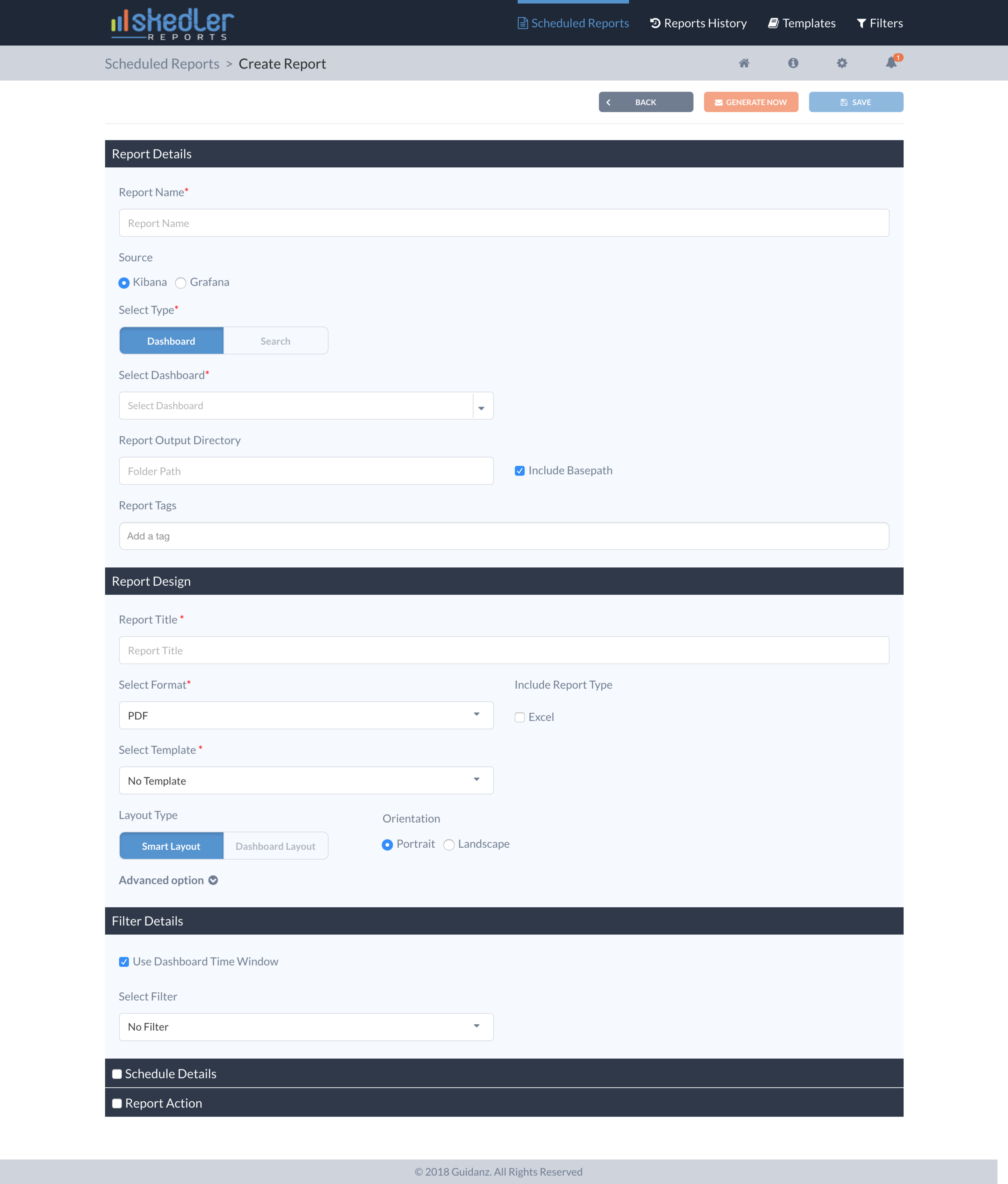 The create report screen offered all input field at once, which felt overwhelming and doesn't provide any guidance. The last two sections were hidden by default without a clear reason. Each section is a major step in creating a report, which deserves an undivided attention from the user.