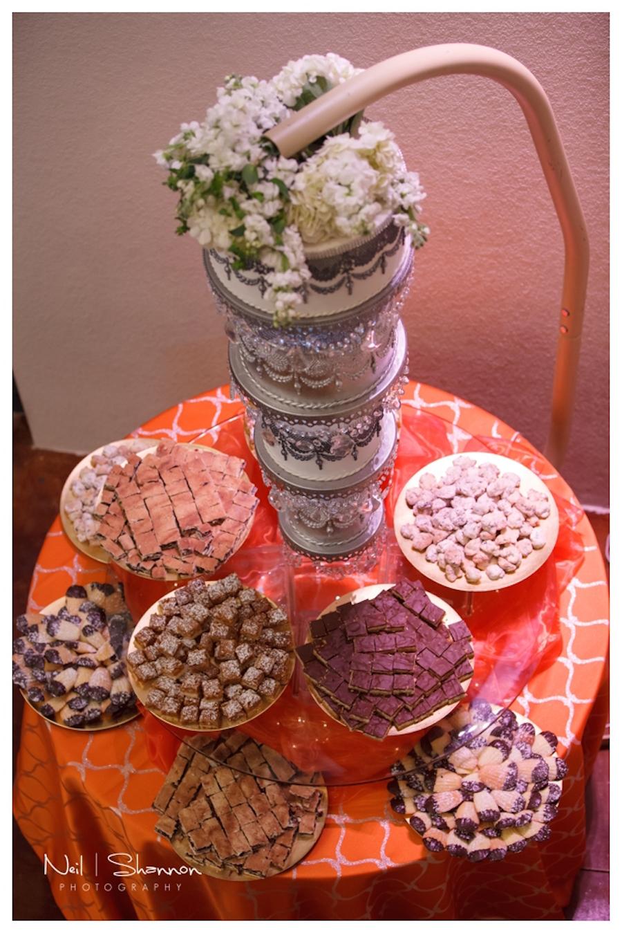 White and Gold Round Hanging Wedding Cake | Sarasota Wedding Cake and Dessert Baker The Cake Zone