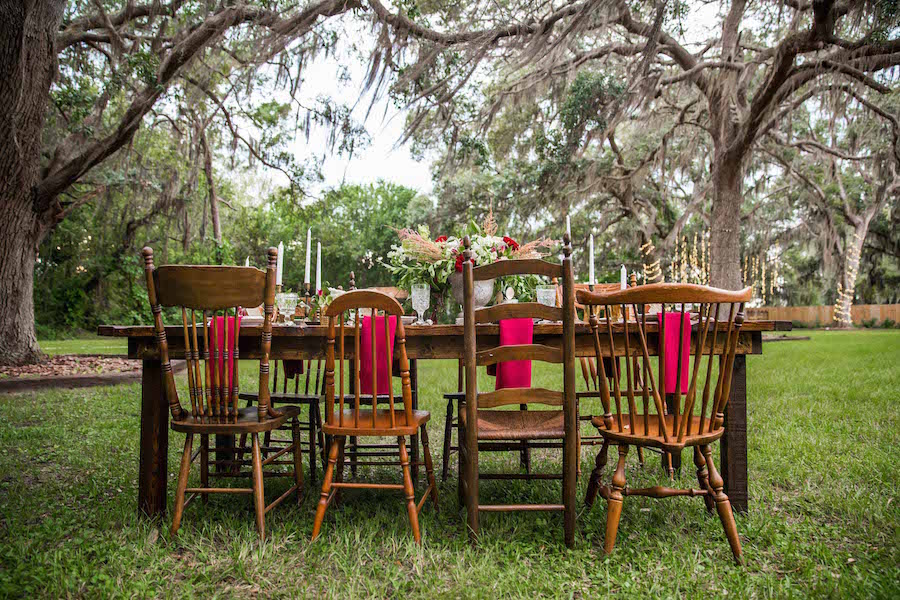 Mix and Match Vintage Wooden Chairs | Southern Inspired Outdoor Wedding Reception Styled Shoot at Tampa Bay Wedding Venue Bakers Ranch