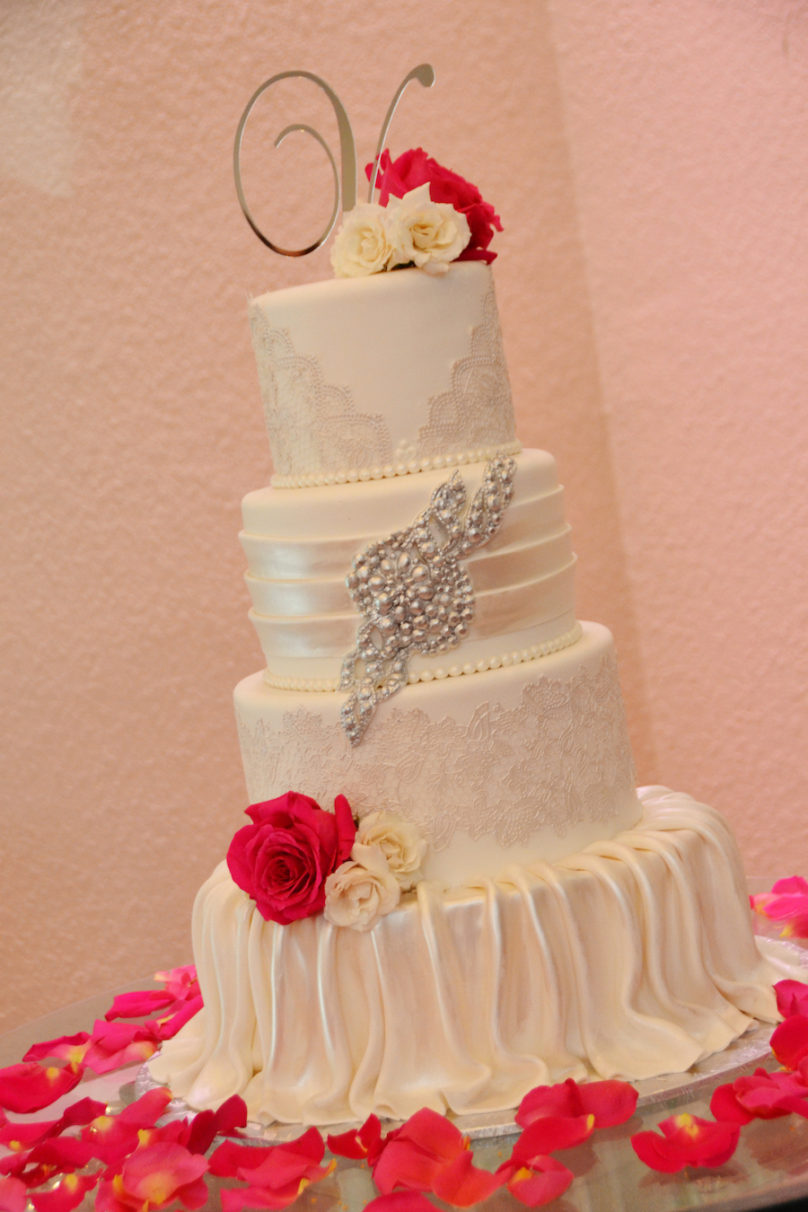 4-Tier White Wedding Cake with Flowers by The Cake Zone   Sarasota Wedding Indoor Reception