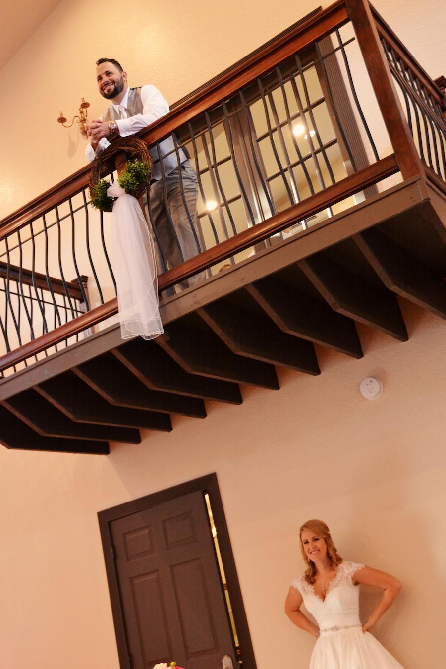 Sarasota Bride and Groom First Look on Wedding Day   Sarasota Wedding Venue Bakers Ranch