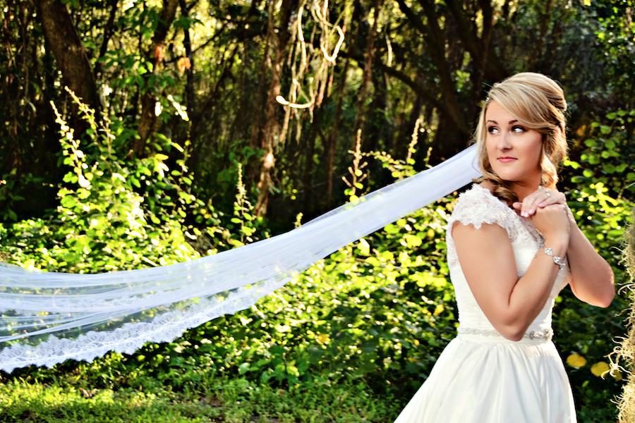 Sarasota Outdoor Bridal Portrait on Wedding Day   Sarasota Wedding Venue Bakers Ranch
