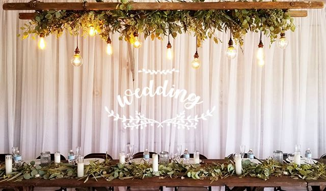 This was such a pretty hanging installation over the wedding head table. The vintage light bulbs make a great statement. #Botanikal #bellinghamflorist #greenery