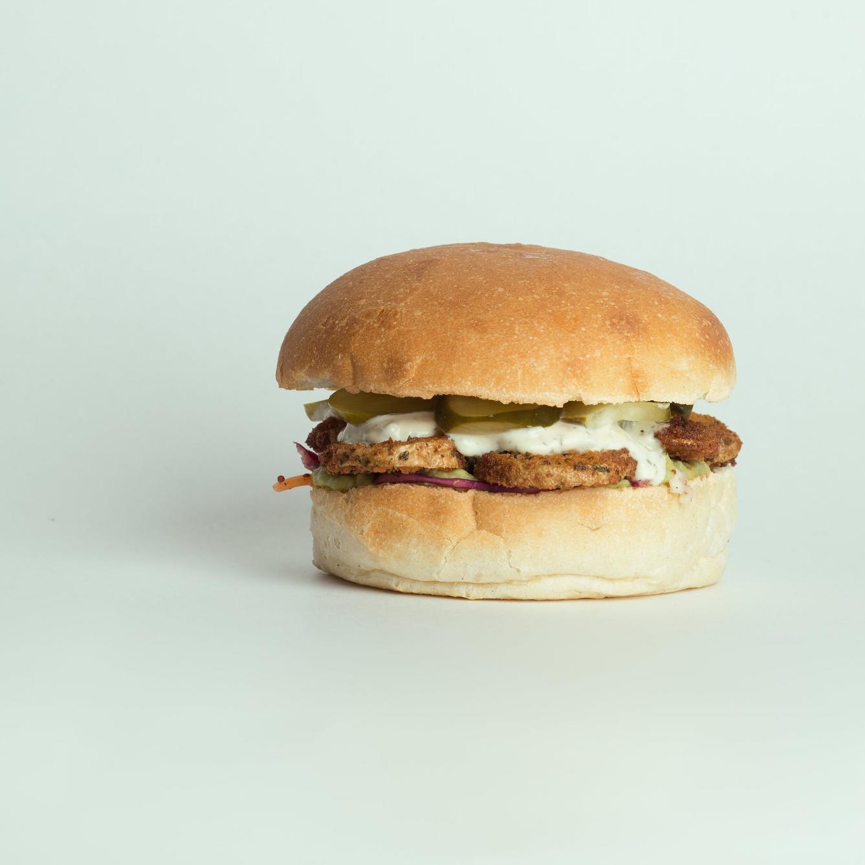 vegan potato burgers, Vegan meals located at 424 Queen St W, Toronto Ont