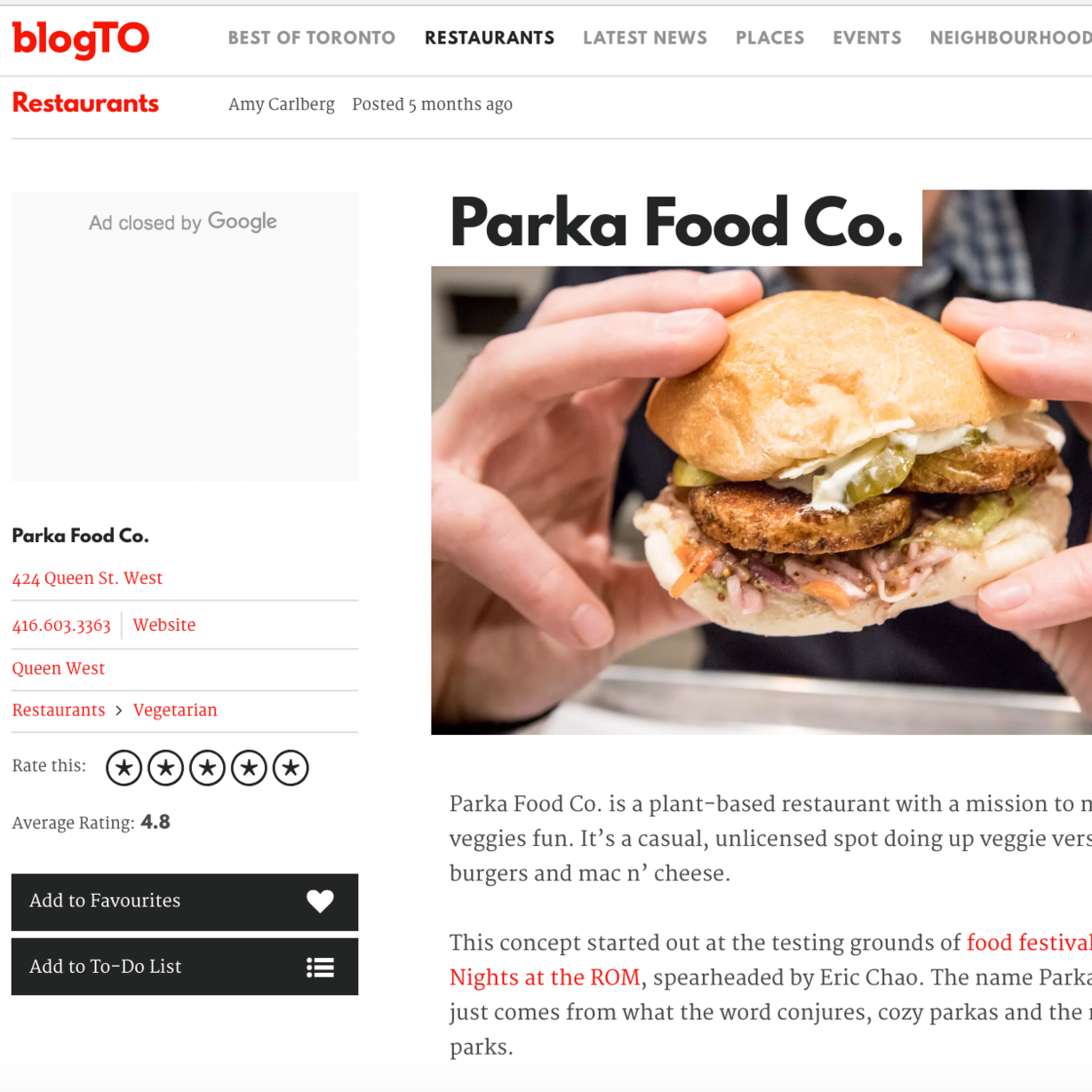 blogTo reviews Parka Food Co, Vegan comfort food, best vegan burger toronto, delicious vegan burger toronto, vegan food near me
