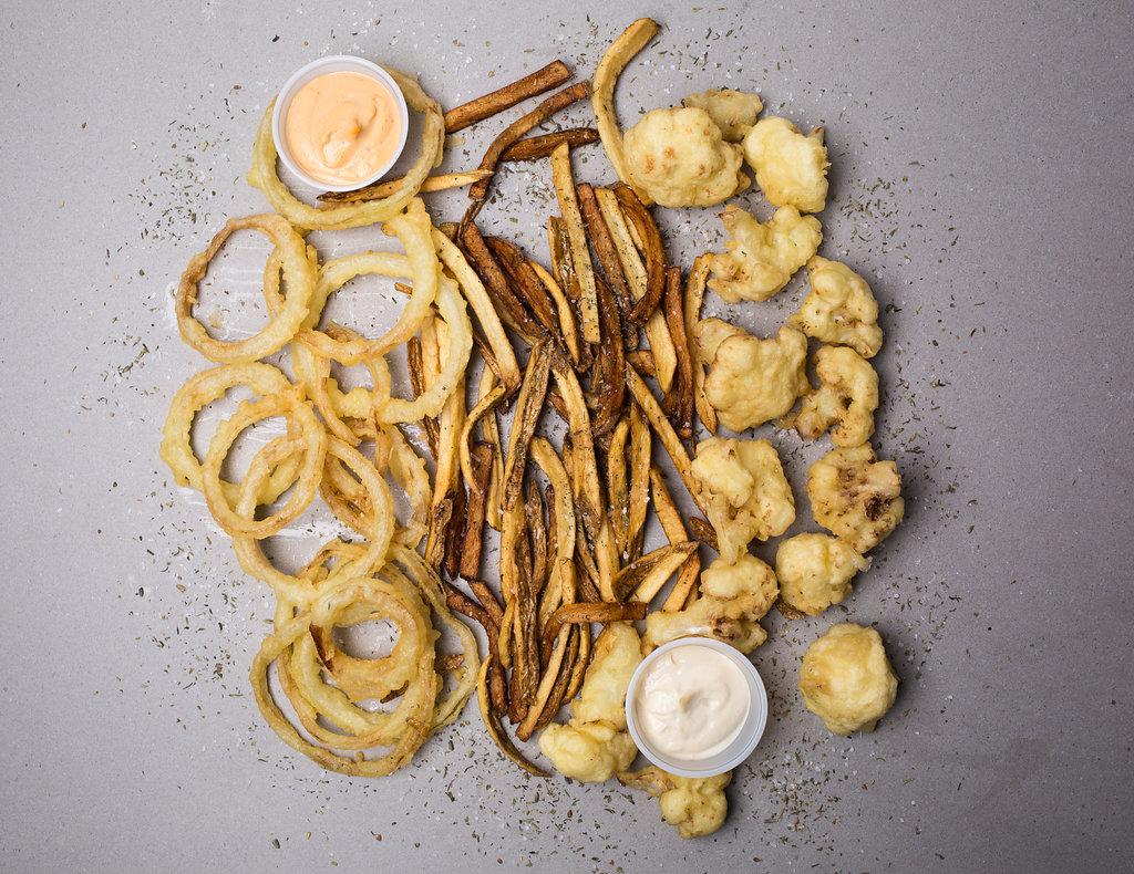 Parka Food Co, Vegan comfort food, Queen street west, fries, cauliflower fritters, onion rings