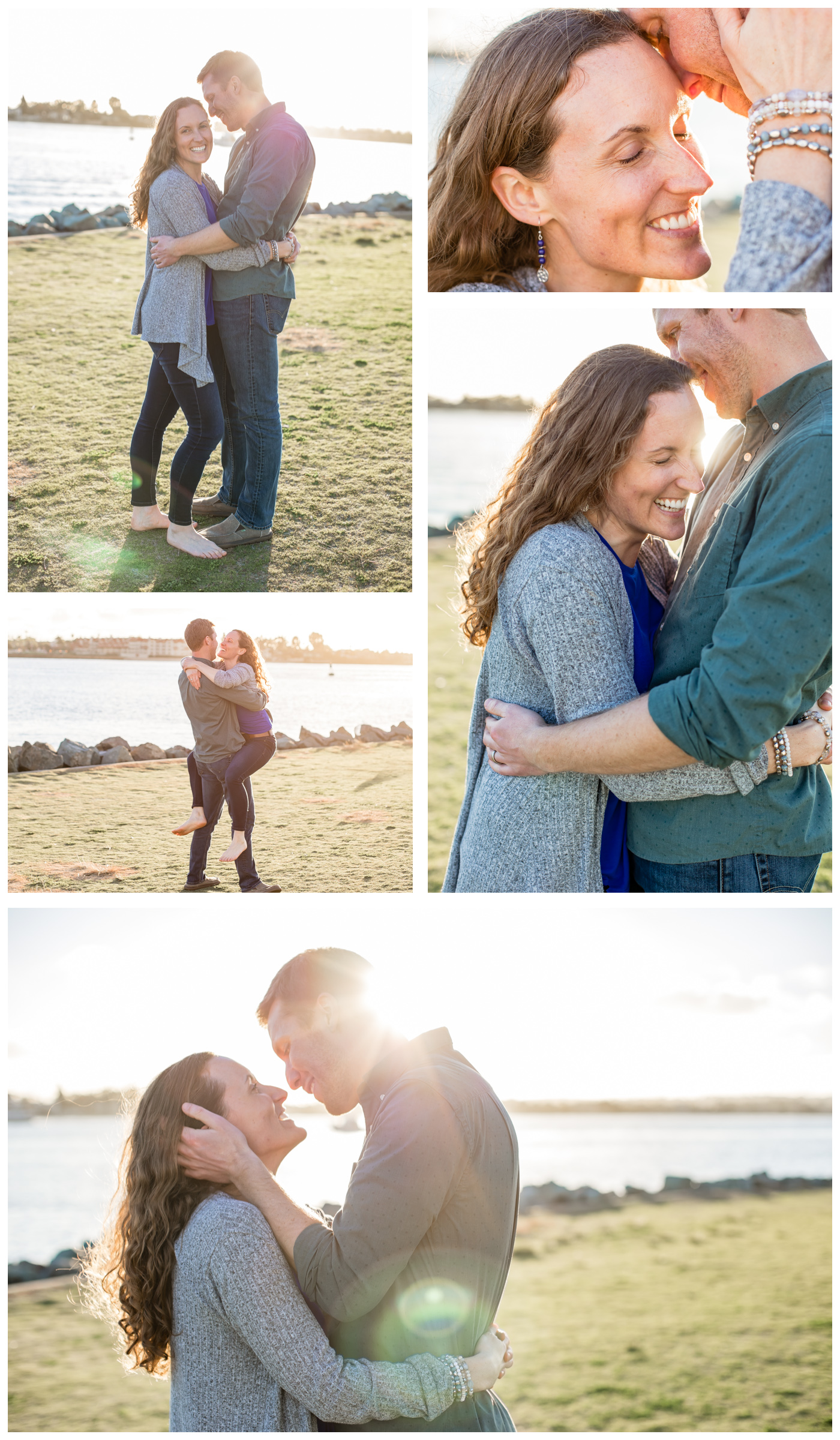 couple photo collage with light flares