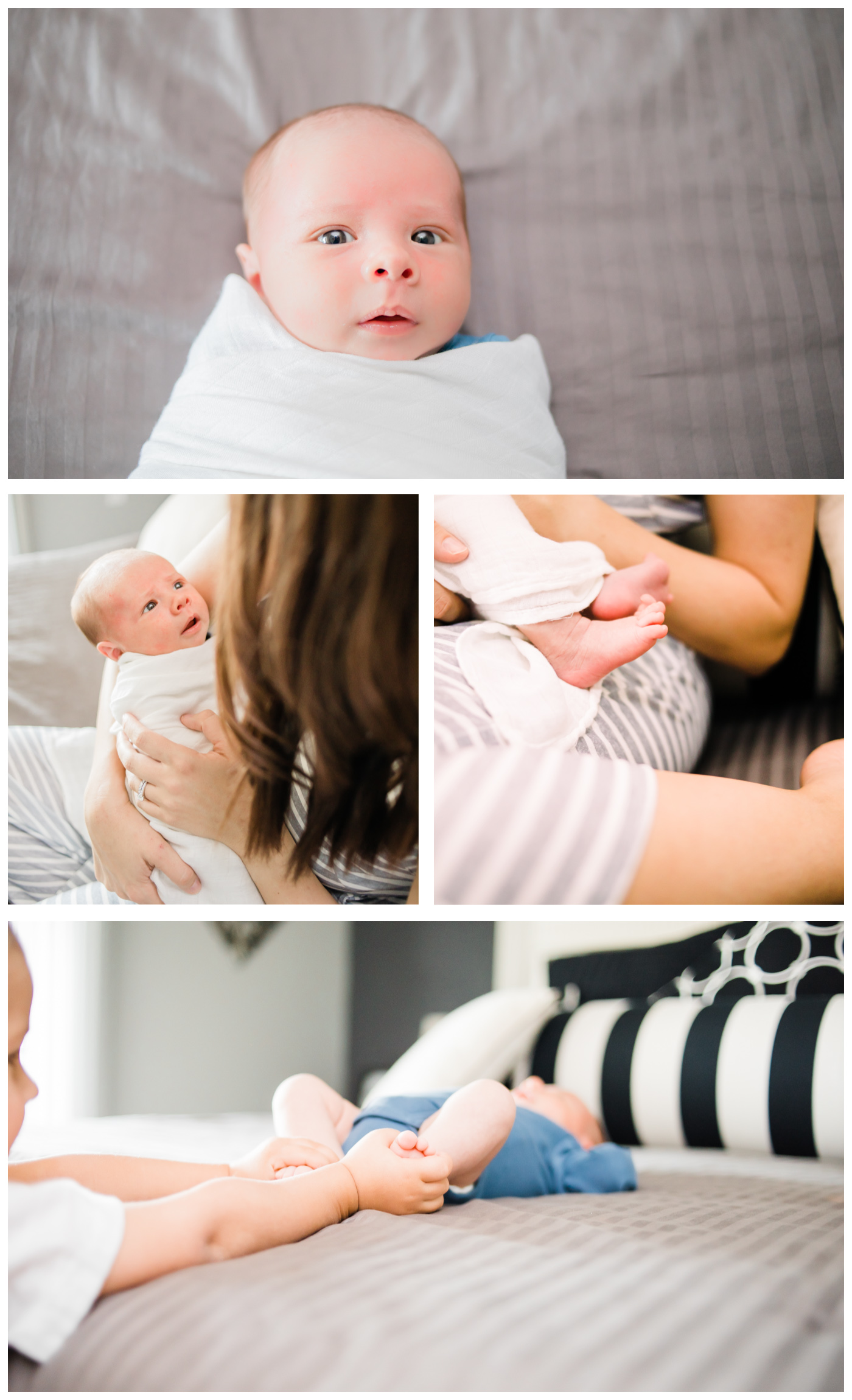 newborn lifestyle collage, grey, white and blue