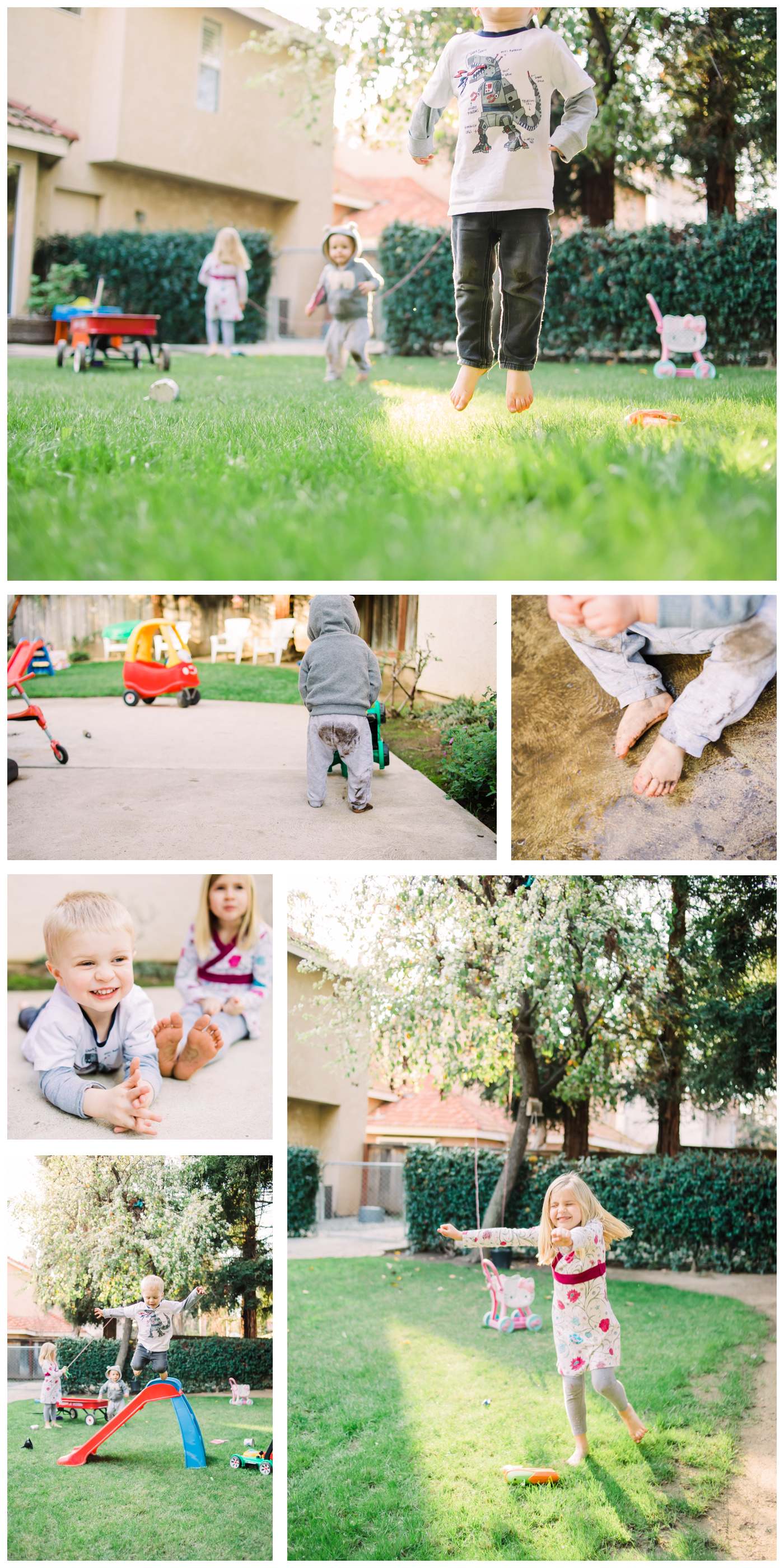 collage of kids playing in a backyard