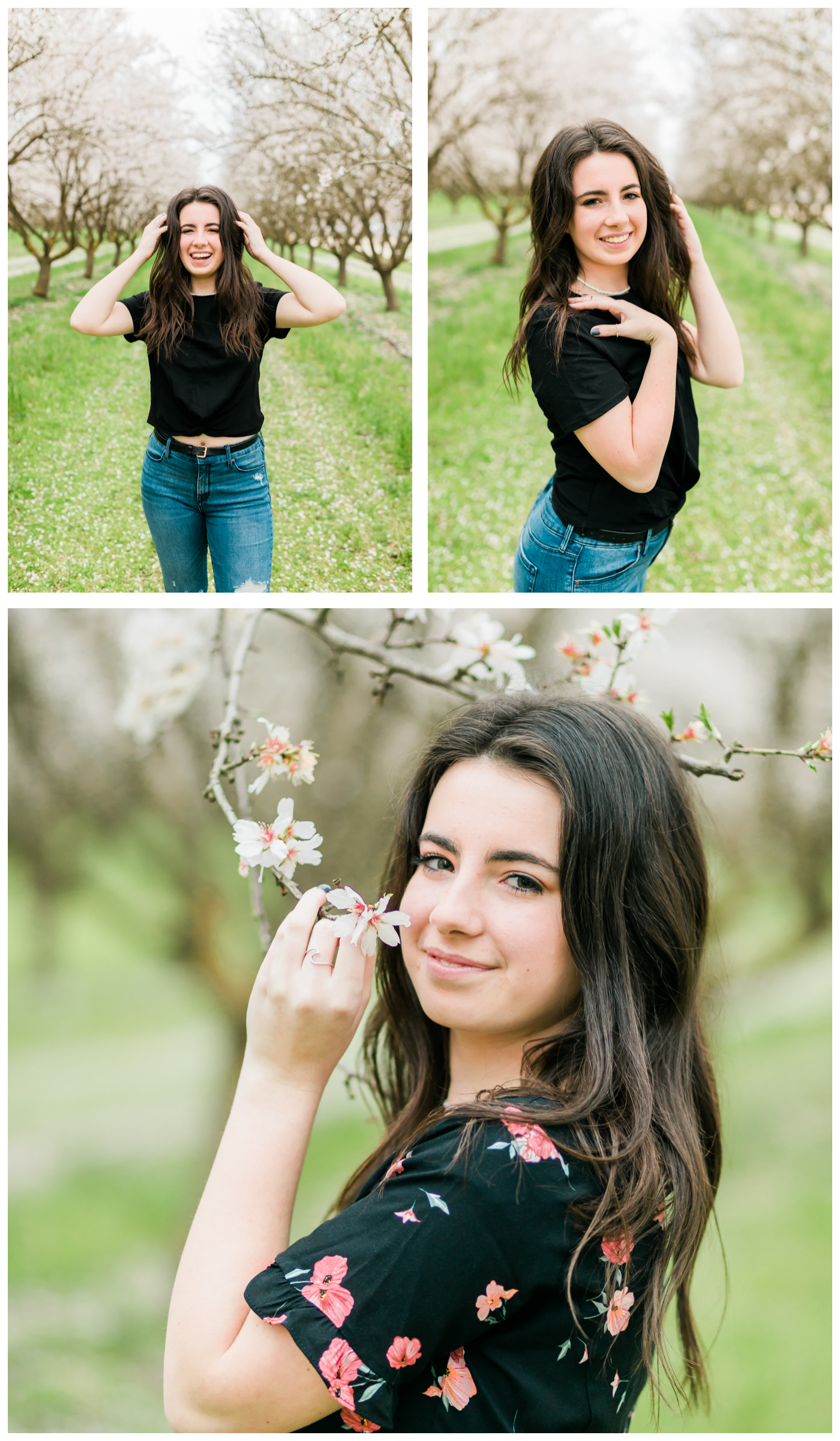 senior girl in the blossoms collage