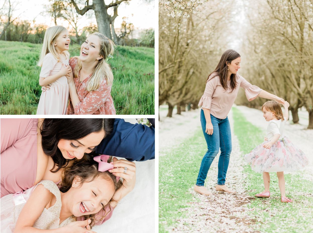 collage of mothers having fun with children