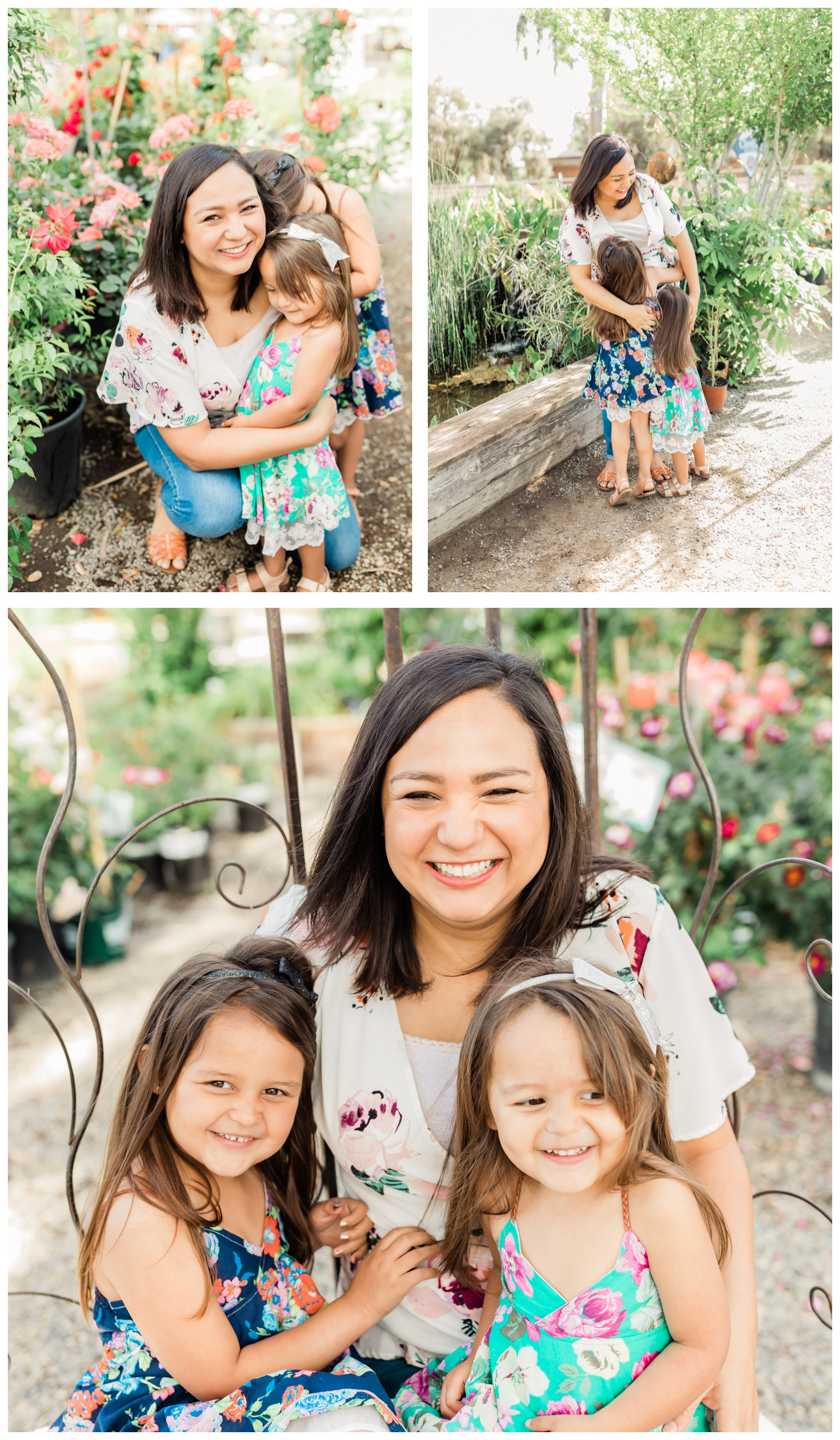Collage of images of mother with two little girls