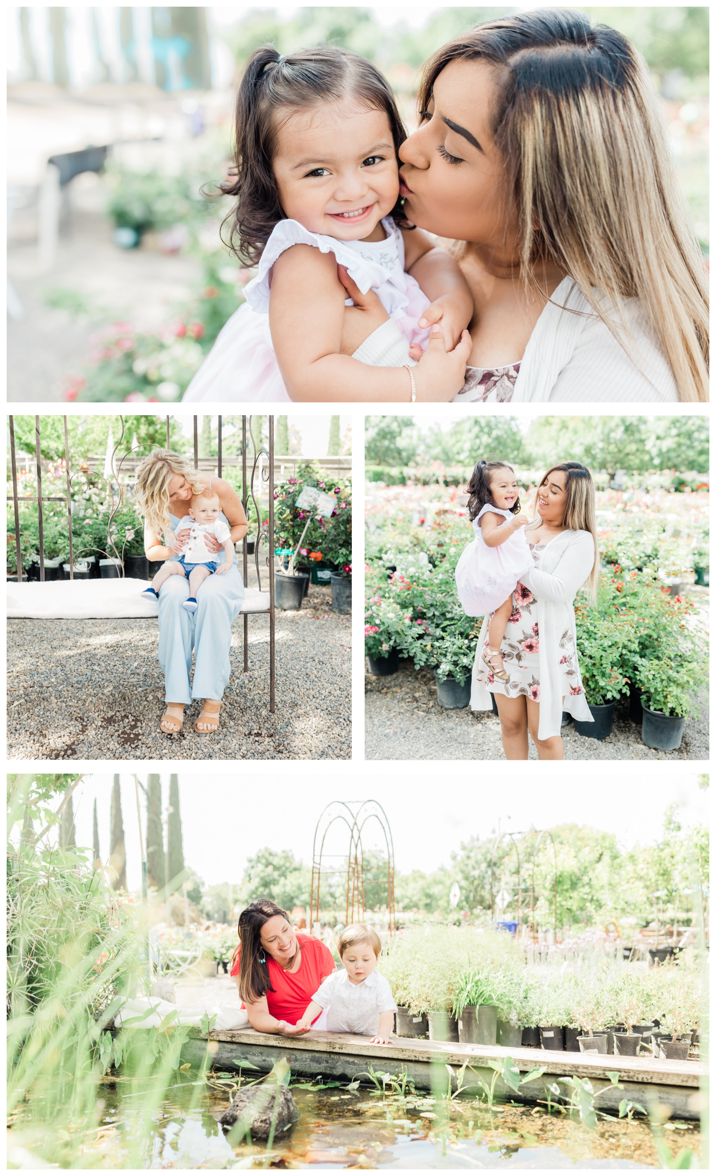 collage of images of mothers playing with little children