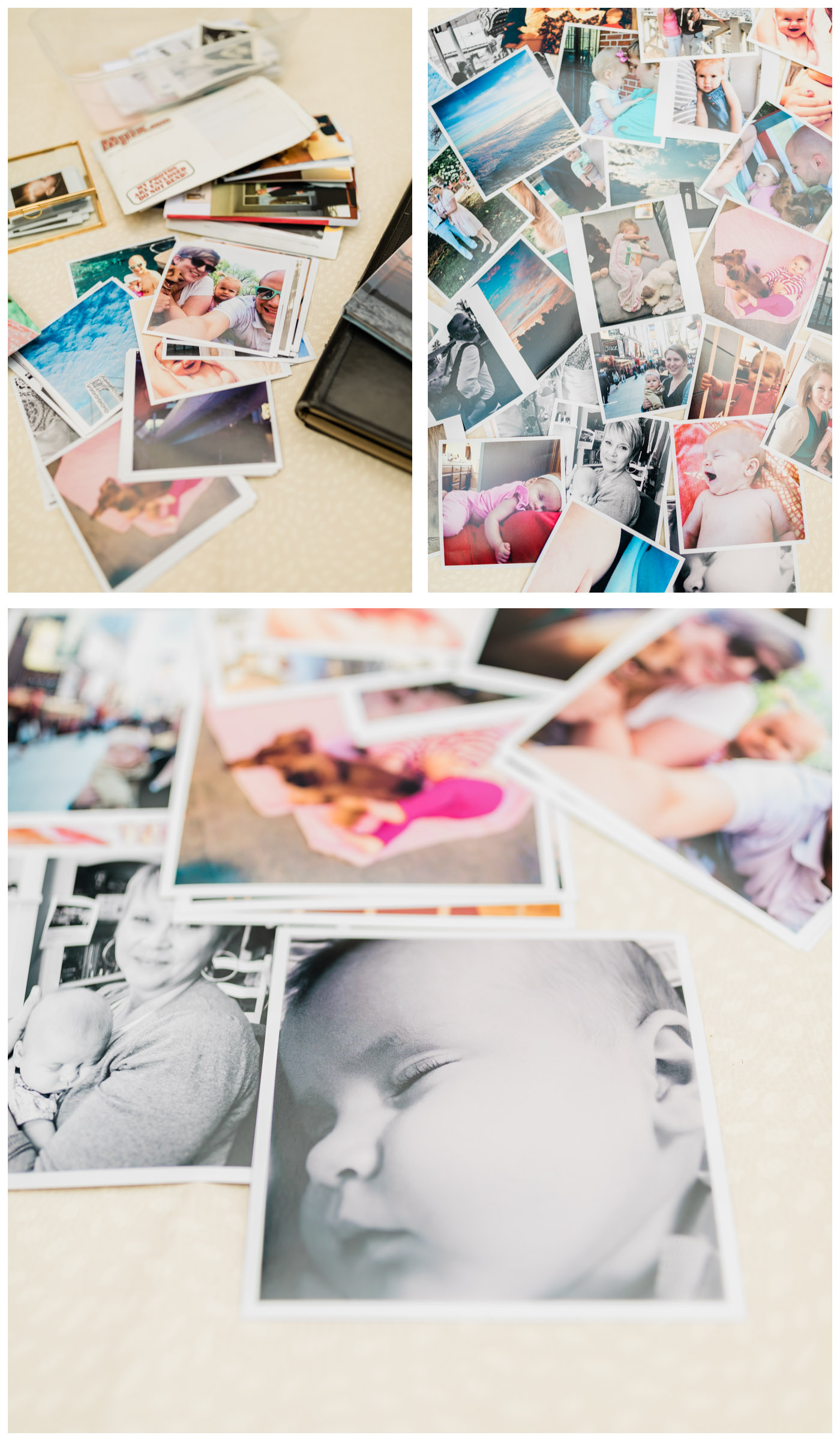 collage of flatlay of photo prints and products
