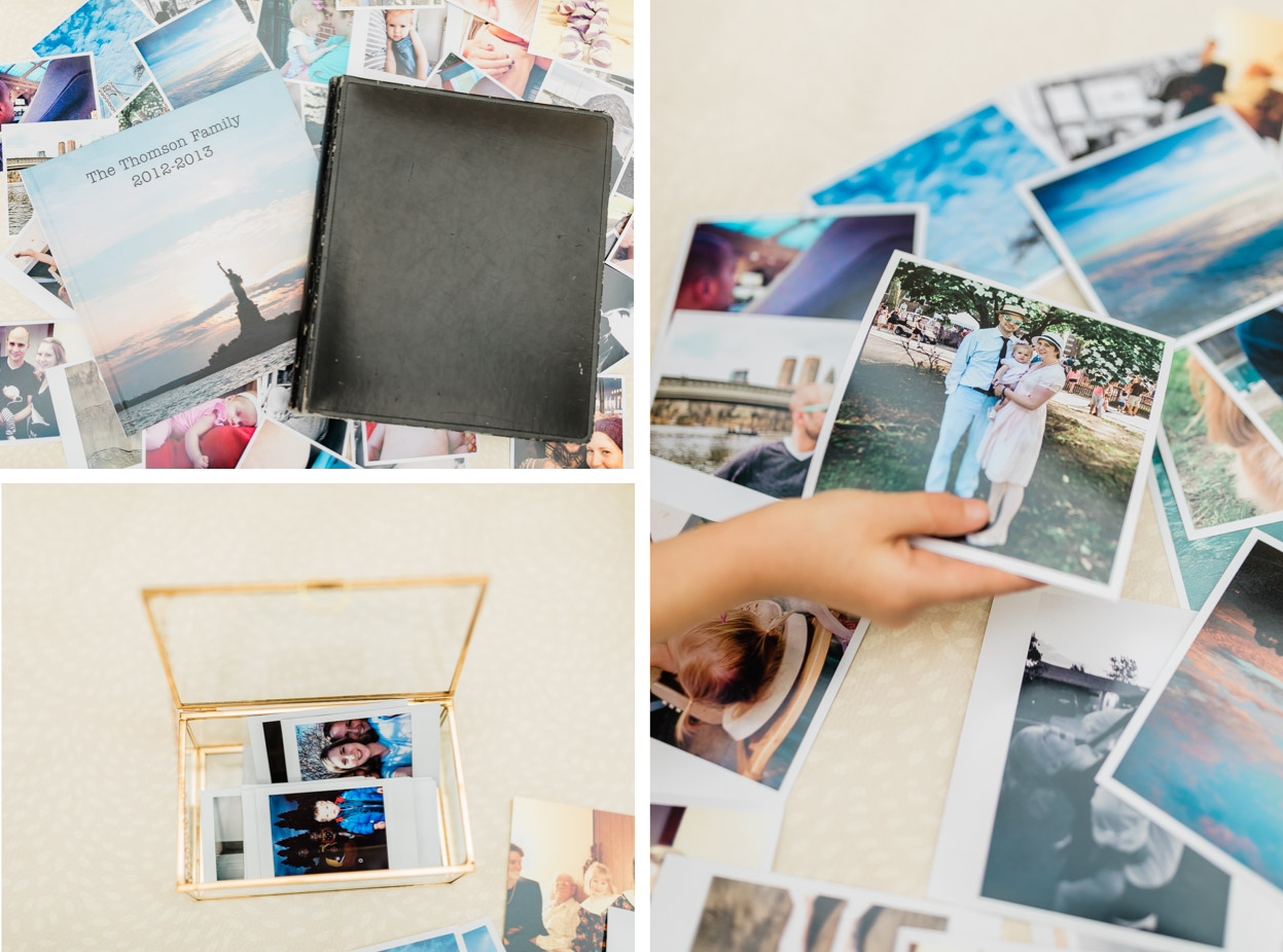 collage of flat lays of photos and print products